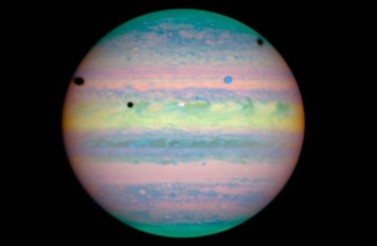 Triple Jovian Eclipse on Jupiter