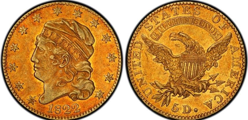 1822 half eagle coin