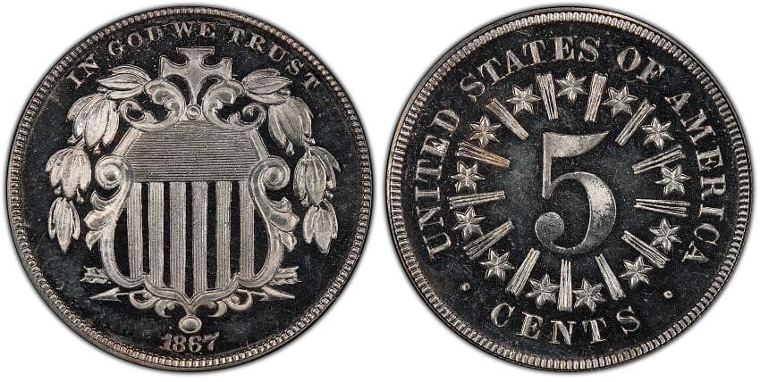 1867 Shield Nickel Proof with Rays