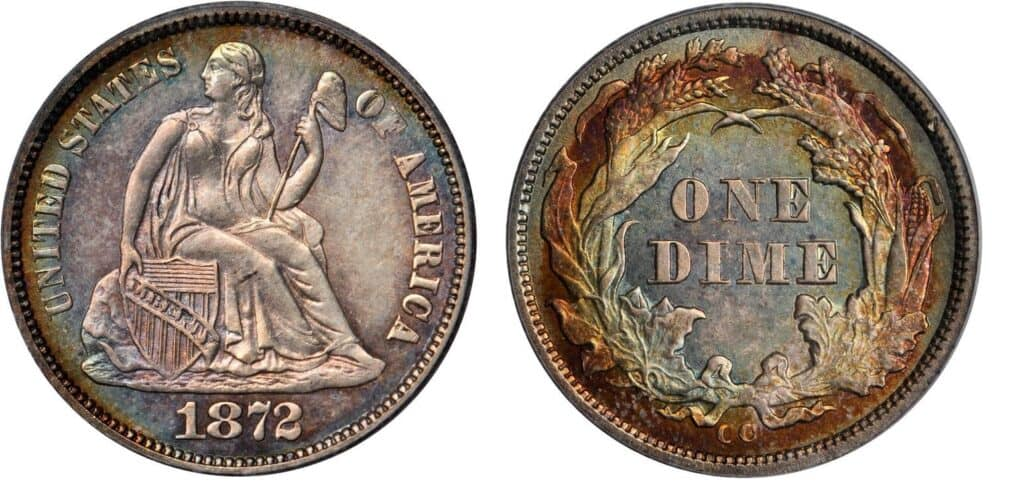 1872 CC Liberty Seated Dime Mint Condition