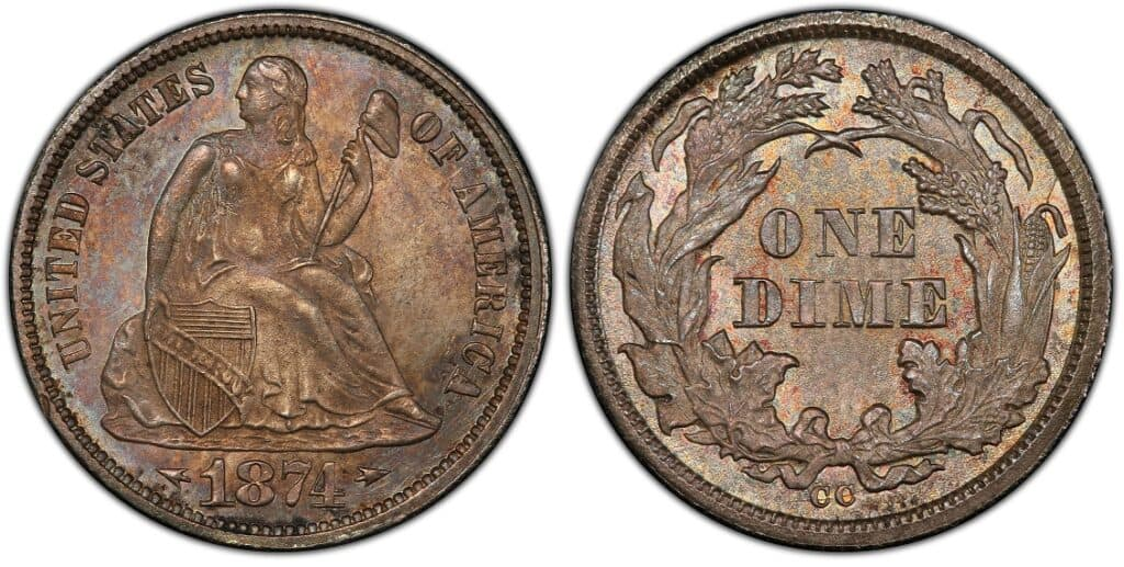 1874 CC Liberty Seated Dime with Arrows