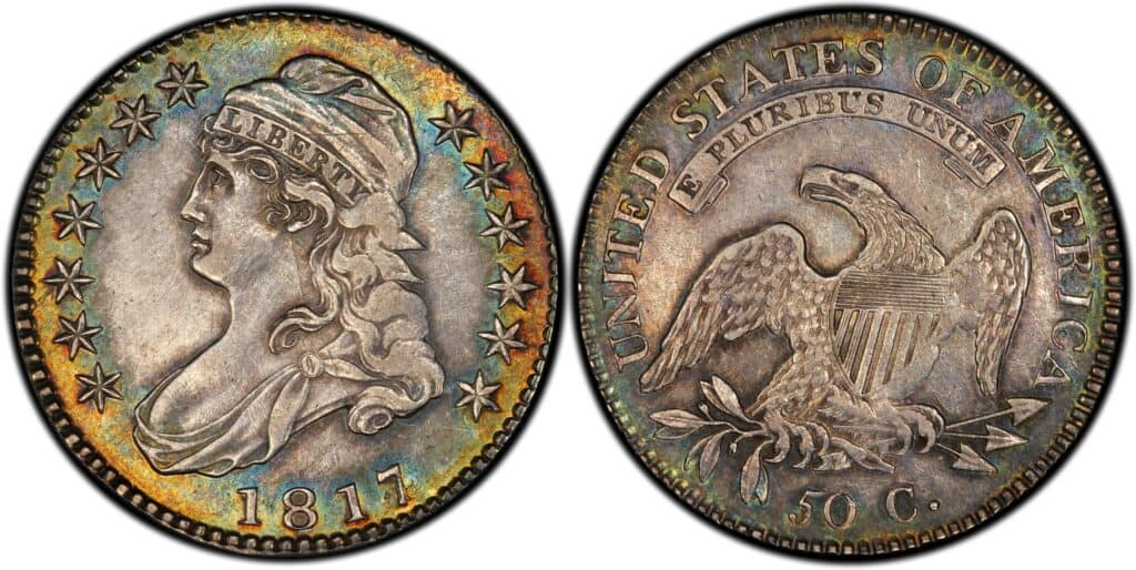 1817 Capped Bust Half Dollar Overdate