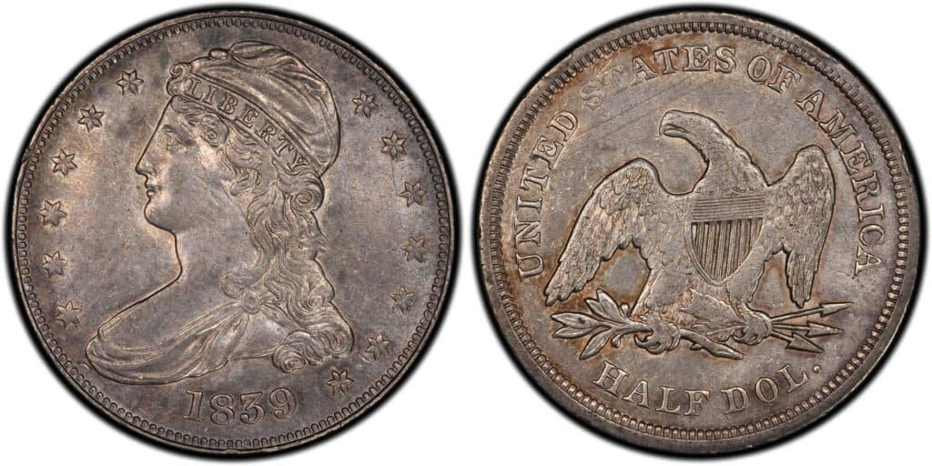 1839 Capped Bust Half Dollar Small Letters Reverse