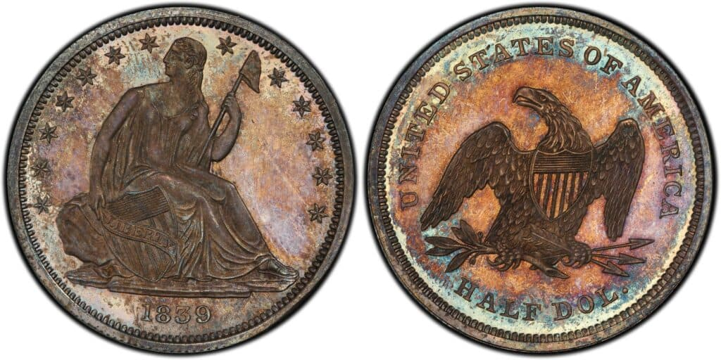 1839 Seated Liberty Proof with No Drapery