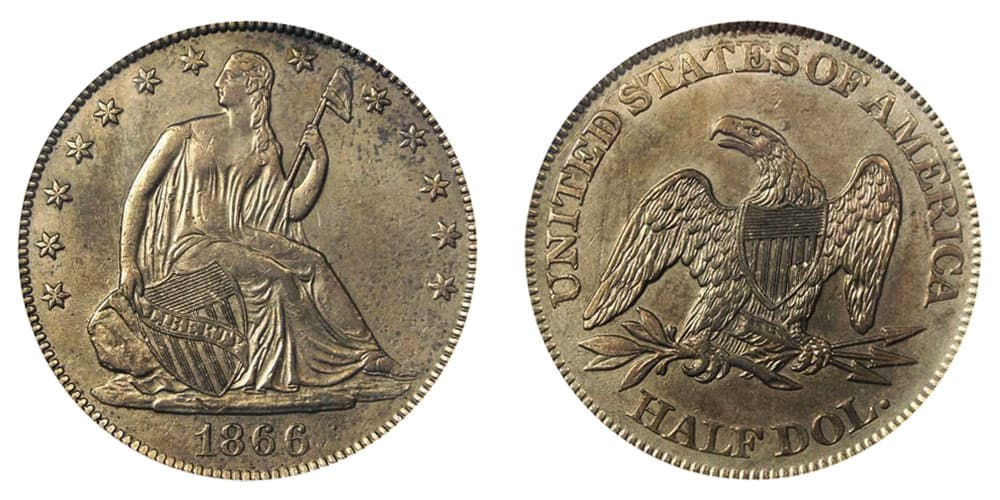 1866 Seated Liberty Proof with No Motto/No Arrows