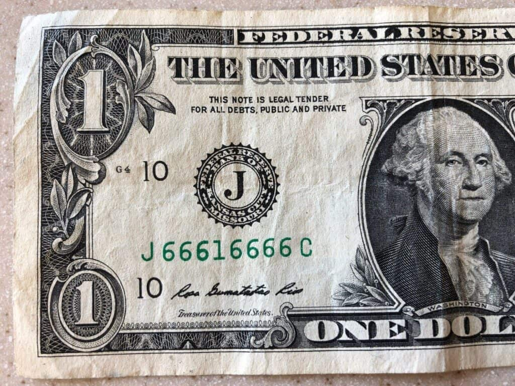 Seven-of-a-Kind Dollar Bill