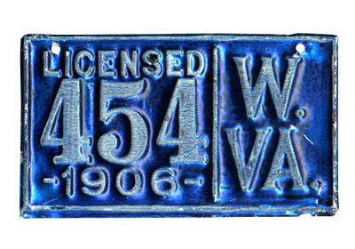 1905 and 1906 West Virginia License Plates
