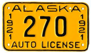 1921 Alaska Plate