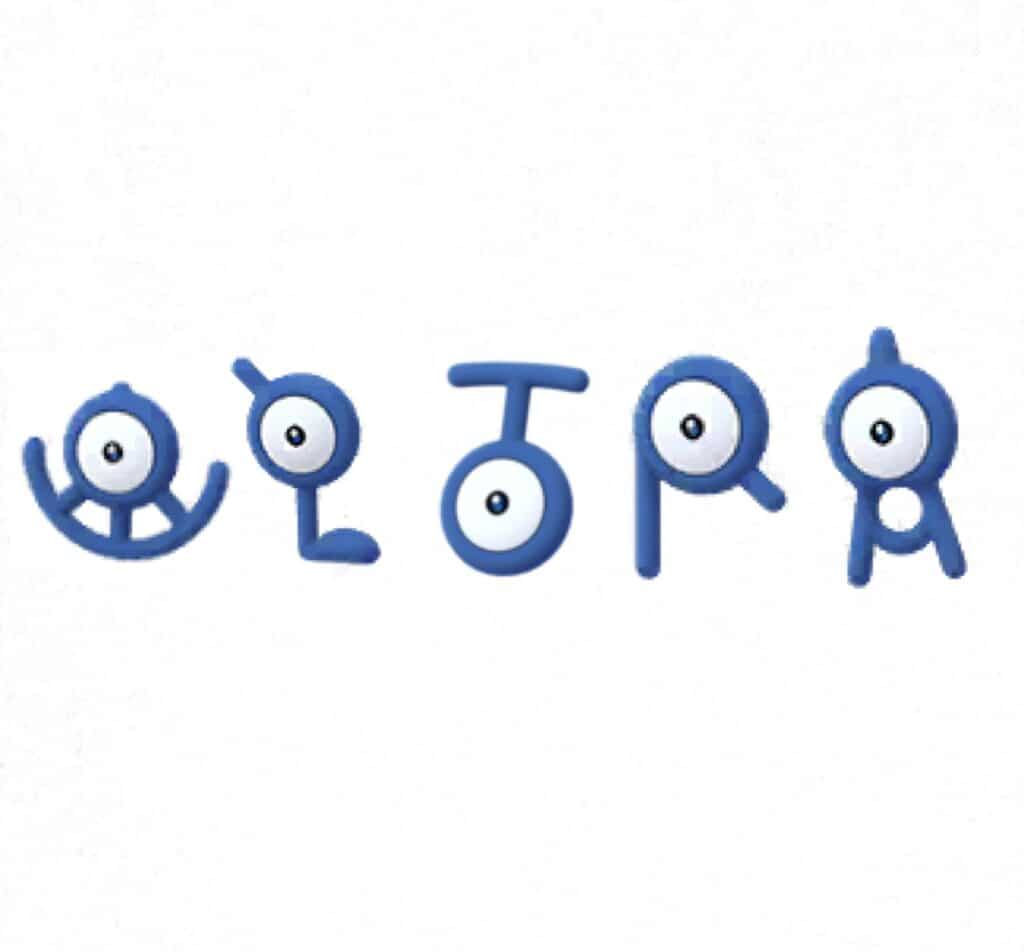 Unown U, L, T, R, and A