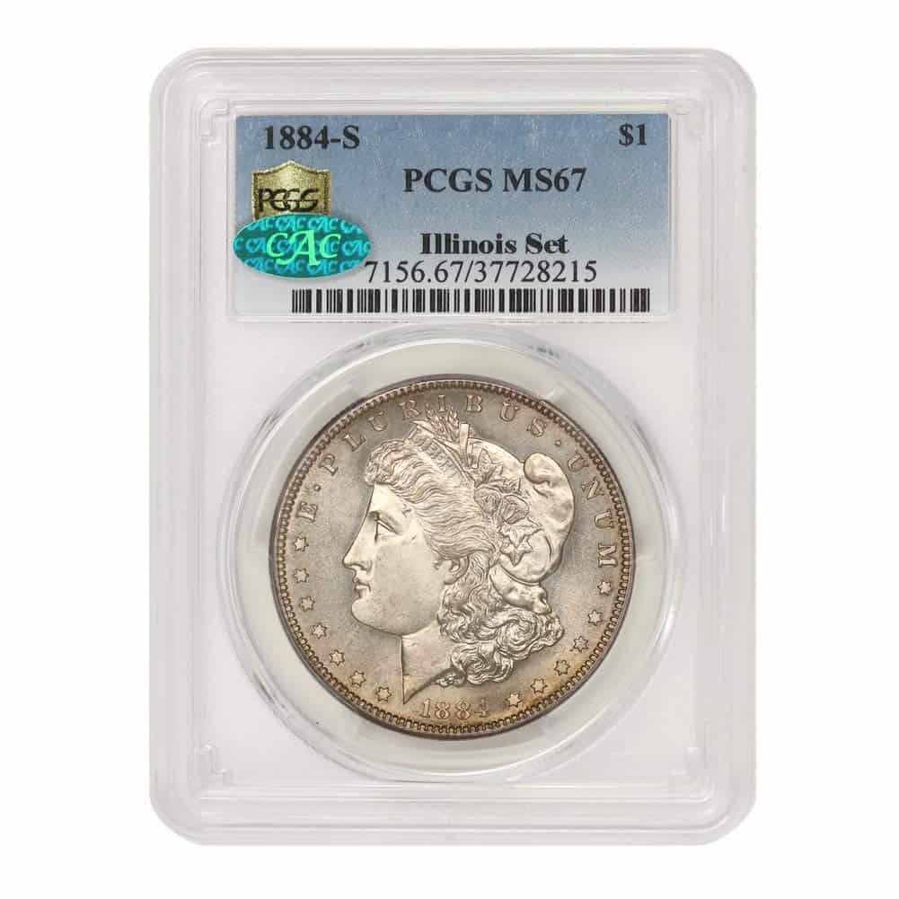1884 S American Silver Morgan Dollar MS-67 Illinois Set