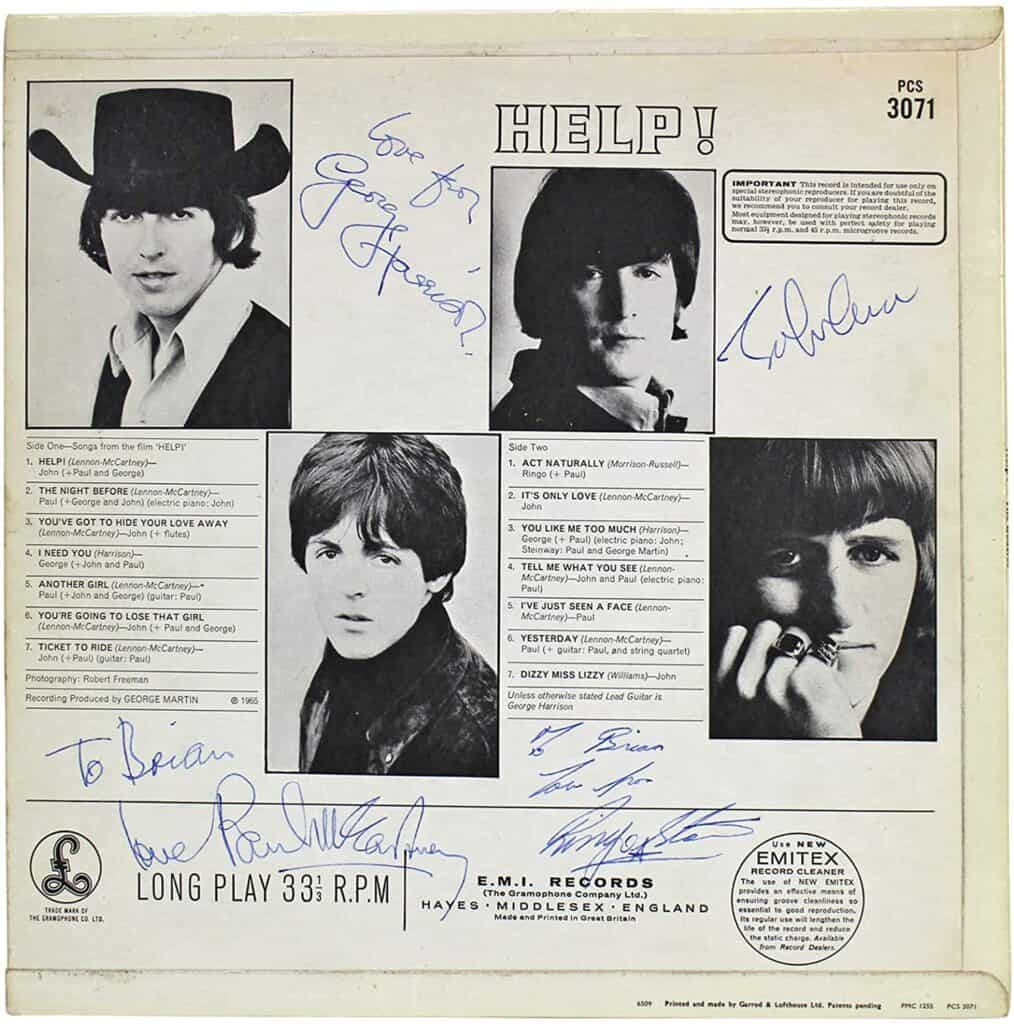 1965 Help! Album Cover Signed by All Four Beatles