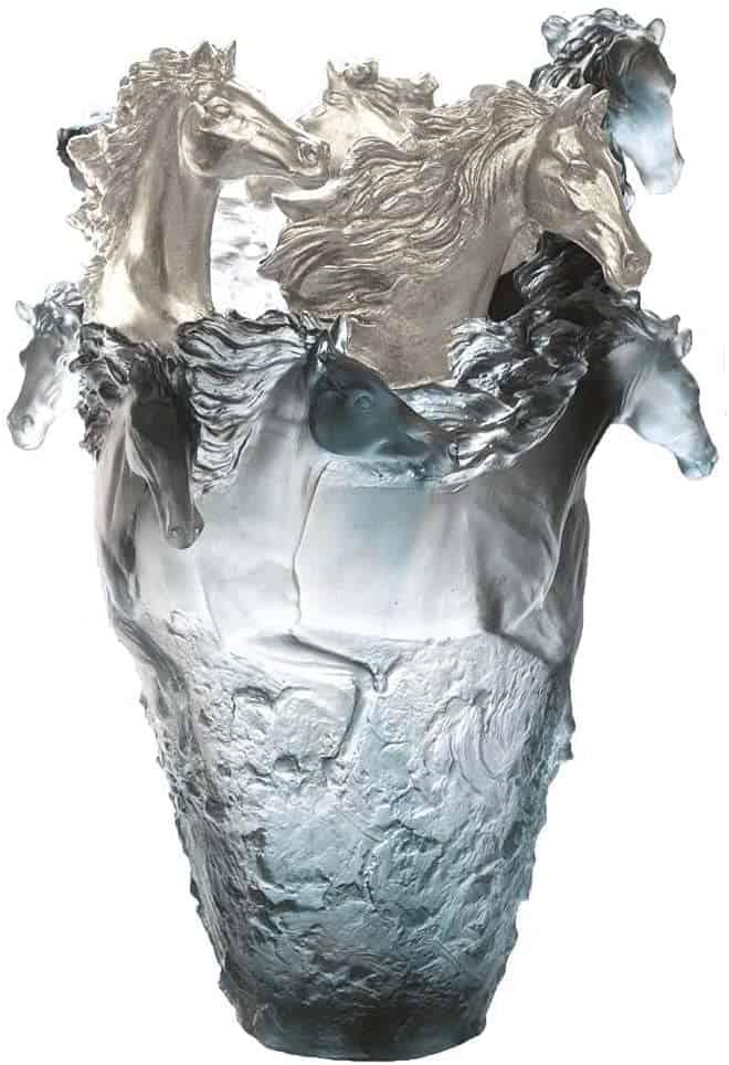 Daum Crystal Blue Horse Magnum Vase, 3 Silvered Heads